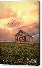 Abandoned Building In A Storm Acrylic Print by Jill Battaglia