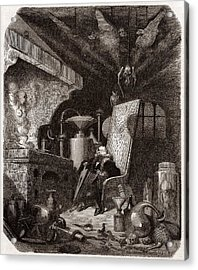 Alchemist At Work, 19th Century Acrylic Print by Science Photo Library