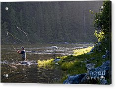 Angler Fly Fishing, Kelly Creek Acrylic Print by William H. Mullins