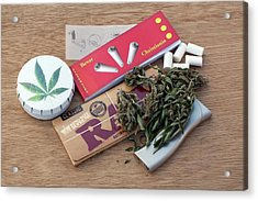 Assorted Cannabis Products Acrylic Print by Adam Hart-davis