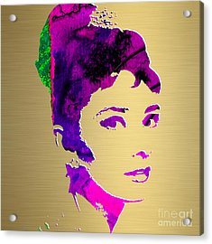 Audrey Hepburn Gold Series Acrylic Print by Marvin Blaine