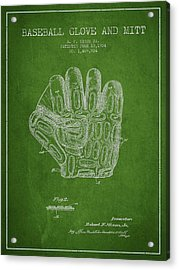 Baseball Glove Patent Drawing From 1924 Acrylic Print by Aged Pixel