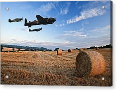 Beautiful Golden Hour Hay Bales Sunset Landscape Acrylic Print by Matthew Gibson