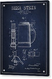 Beer Stein Patent From 1914 - Navy Blue Acrylic Print by Aged Pixel