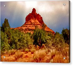 Bell Rock Vortex Painting Acrylic Print by Bob and Nadine Johnston