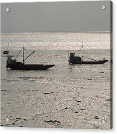 Boats In The Sea.  Normandy. France. Europe Acrylic Print by Bernard Jaubert