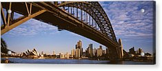 Bridge Across The Bay With Skyscrapers Acrylic Print by Panoramic Images