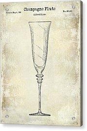 Champagne Flute Patent Drawing  Acrylic Print by Jon Neidert