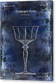 Champagne Glass Patent Drawing Blue  Acrylic Print by Jon Neidert