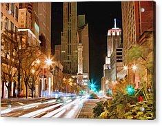 Chicago Michigan Avenue Light Streak Acrylic Print by Christopher Arndt