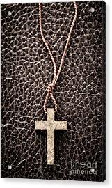 Christian Cross On Bible Acrylic Print by Elena Elisseeva