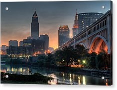 Cleveland Skyline At Dawn Acrylic Print by At Lands End Photography