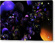 Computer Generated Spheres Abstract Fractal Flame Acrylic Print by Keith Webber Jr