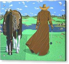 Cowboy Caddy Acrylic Print by Lance Headlee