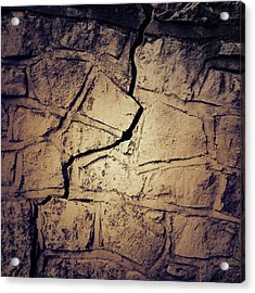 Cracked Wall Acrylic Print by Les Cunliffe