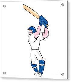 Cricket Player Batsman Batting Cartoon Acrylic Print by Aloysius Patrimonio