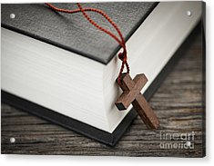 Cross And Bible Acrylic Print by Elena Elisseeva