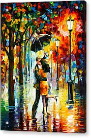 Dance Under The Rain Acrylic Print by Leonid Afremov