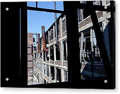 Derelict Car Factory Acrylic Print by Jim West