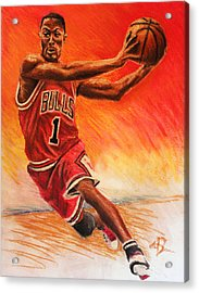 Derrick Rose Acrylic Print by Adam Barone