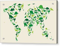 Dinosaur Map Of The World Map Acrylic Print by Michael Tompsett