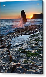 Dramatic View Of A Sea Stack In Davenport Beach Santa Cruz. Acrylic Print by Jamie Pham