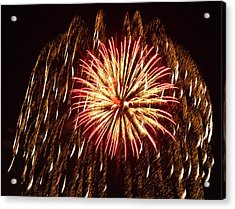 Fireworks At The Albuquerque Hot Air Acrylic Print by William Sutton