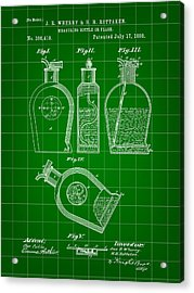 Flask Patent 1888 - Green Acrylic Print by Stephen Younts