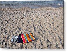 Flip Flops And Towels On Beach Acrylic Print by George Atsametakis