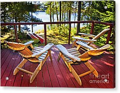Forest Cottage Deck And Chairs Acrylic Print by Elena Elisseeva