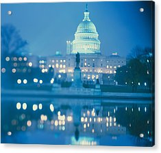 Government Building Lit Up At Night Acrylic Print by Panoramic Images