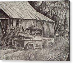 Grandpa's Old Barn With Chevy Truck Acrylic Print by Chris Shepherd
