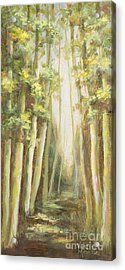 Into The Woods-series With Gold Leaf By Vic Mastis Acrylic Print by Vic  Mastis