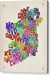 Ireland Eire County Text Map Acrylic Print by Michael Tompsett