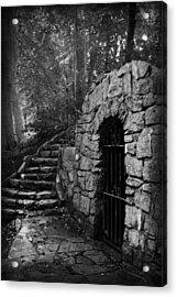 Iron Door In A Garden Acrylic Print by Kelly Hazel