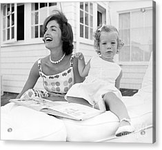 Jacqueline And Caroline Kennedy At Hyannis Port 1959 Acrylic Print by The Phillip Harrington Collection