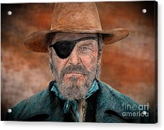 Jeff Bridges As U.s. Marshal Rooster Cogburn In True Grit  Acrylic Print by Jim Fitzpatrick