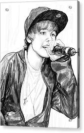 Justin Bieber Art Drawing Sketch Portrait Acrylic Print by Kim Wang