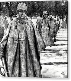 Korean War Memorial Washington Dc Acrylic Print by Bob and Nadine Johnston