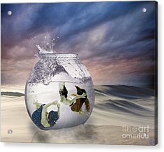 2 Lost Souls Living In A Fishbowl Acrylic Print by Linda Lees