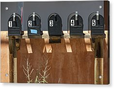 Mailboxes Santa Fe Nm Acrylic Print by David Litschel