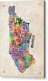 Manhattan New York Typographic Map Acrylic Print by Michael Tompsett