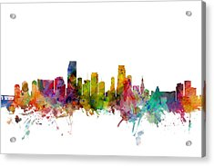 Miami Florida Skyline Acrylic Print by Michael Tompsett