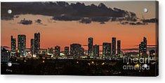 Miami Sunset Skyline Acrylic Print by Rene Triay Photography