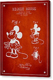 Mickey Mouse Patent Drawing From 1930 Acrylic Print by Aged Pixel