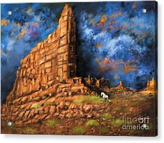 Landscapes Acrylic Print featuring the painting Monument Valley by Susi Galloway