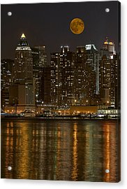Moonrise Over Manhattan Acrylic Print by Susan Candelario
