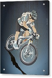 Mountainbike Sports Action Grunge Color Acrylic Print by Frank Ramspott