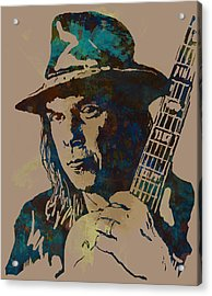 Neil Young Pop Artsketch Portrait Poster Acrylic Print by Kim Wang