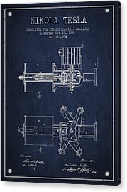 Nikola Tesla Patent Drawing From 1886 - Navy Blue Acrylic Print by Aged Pixel